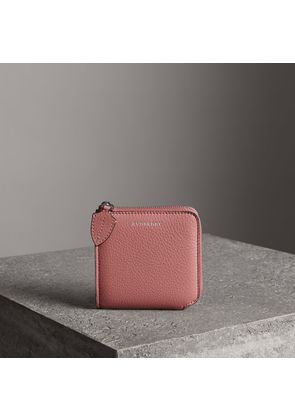 Burberry Grainy Leather Square Ziparound Wallet, Pink