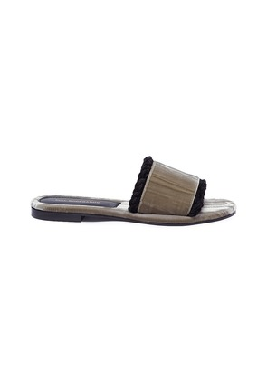'Kitzbuhel' braided edge velvet slide sandals