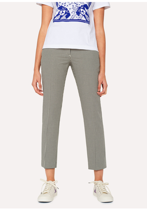 Women's Slim-Fit 'Dogtooth' Cotton Trousers