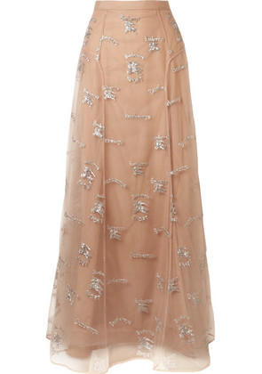 Burberry - Sybilla Embroidered Tulle Maxi Skirt - Blush