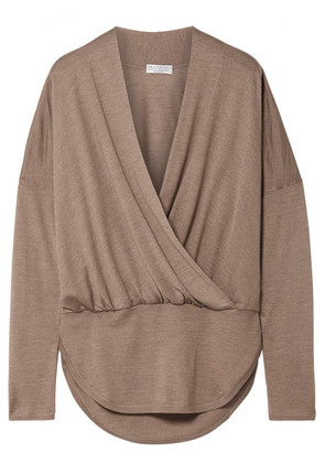 Brunello Cucinelli - Wrap-effect Mélange Cashmere And Silk-blend Sweater - Brown