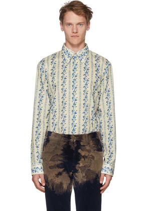 Gucci Off-white and Blue Floral Logo Shirt