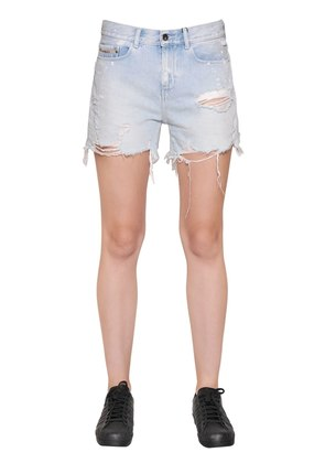 SPLATTERED CUT OFF COTTON DENIM SHORTS