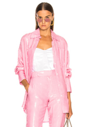 MSGM Sequined Button Down Top in Pink