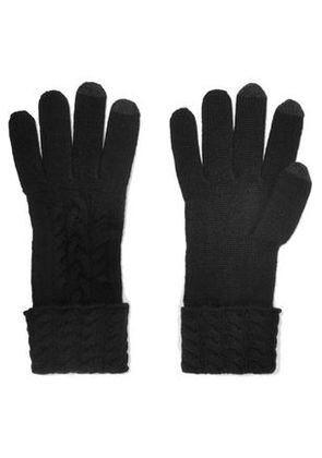 N.peal Woman Cable-knit Cashmere Gloves Black Size ONESIZE