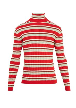 Striped roll-neck ribbed-knit wool sweater