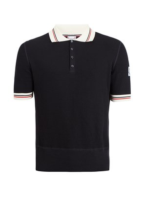 Contrast-collar waffle-knitted cotton polo shirt