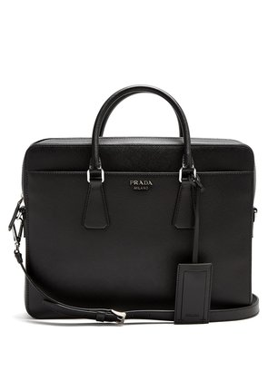 Zip-around saffiano-leather briefcase