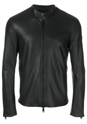 Emporio Armani leather racer jacket - Black