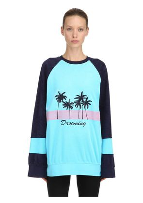 PALM PRINTED COTTON SWEATSHIRT