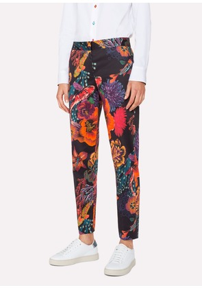 Women's Black 'Ocean' Print Stretch-Cotton Trousers