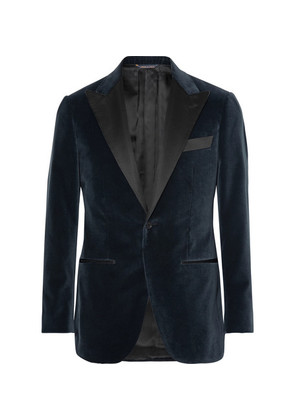 Grey Satin-trimmed Velvet Tuxedo Jacket