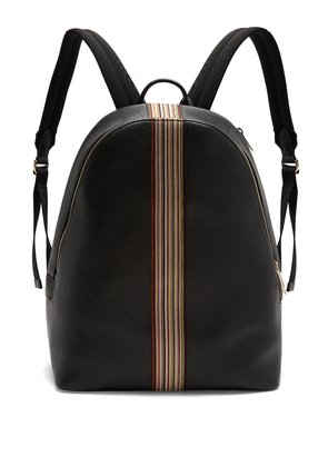 Signature stripe leather backpack