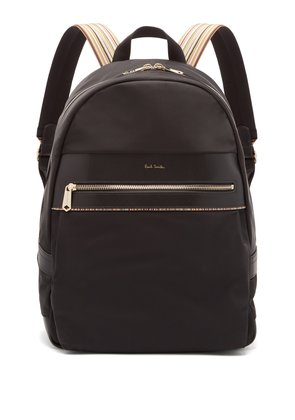 Artist Webbing leather-trimmed nylon backpack