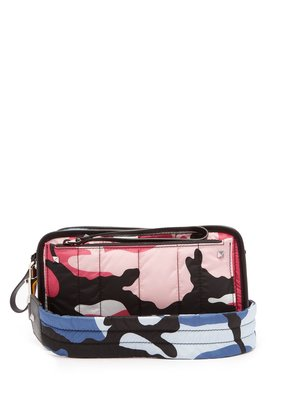 Camouflage-print quilted cross-body bag