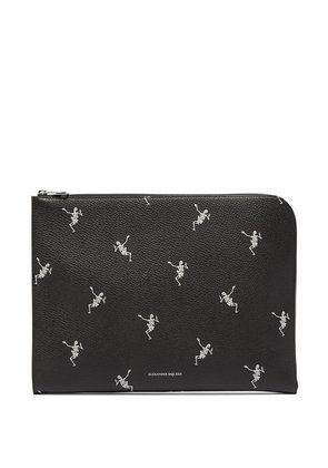 Skeleton-print zip-around leather pouch