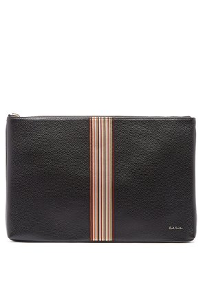 Signature stripe leather pouch