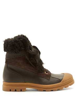 Parker shearling-trimmed leather boots
