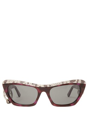 Dielle cat-eye leather and acetate sunglasses