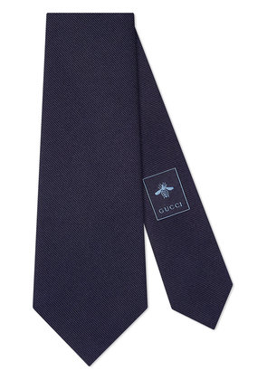 Gucci Embroidered underknot silk tie - Blue