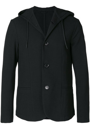 Emporio Armani textured hooded blazer - Black