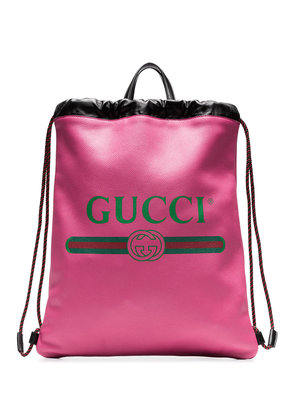 Gucci Pink Logo Print Leather Backpack - Pink & Purple