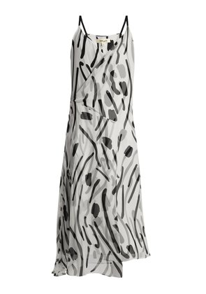 Chatham-print V-neck sleeveless silk dress