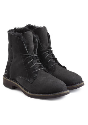 UGG Quincy Suede Lace-Up Boots with Shearling Lining