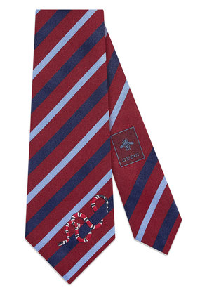 Gucci Striped silk tie with Kingsnake - Red