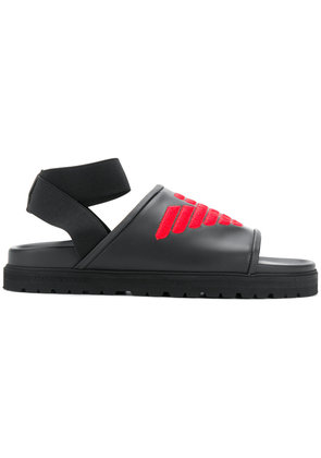 Emporio Armani embroidered logo sandals - Black