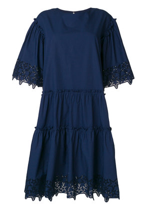 P.A.R.O.S.H. star embossed tiered dress - Blue