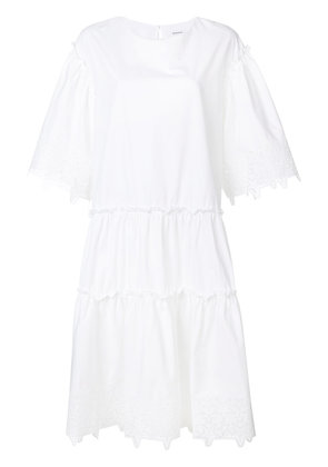 P.A.R.O.S.H. star embossed tiered dress - White