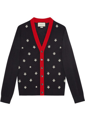 Gucci Wool cardigan with bees and stars - Blue