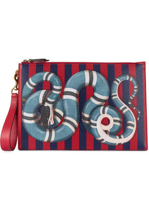 Gucci Kingsnake print striped clutch - Blue