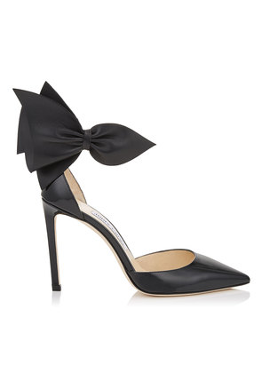 KELLEY 100 Black Patent Pointy Toe Pumps with Nappa Leather Bow Detailing