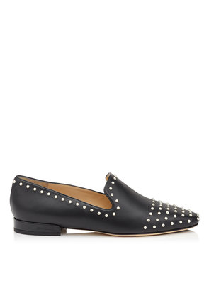 JAIDA FLAT Black Leather Square Toe Slippers with Pearl Detailing
