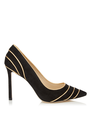 ROMY 100 Black Suede Pointy Toe Pumps with Gold Metallic Nappa Leather Piping