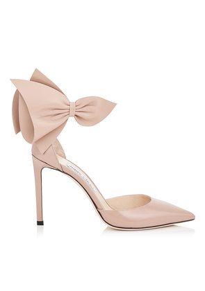 KELLEY 100 Ballet Pink Patent Pointy Toe Pumps with Nappa Leather Bow Detailing