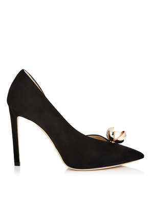 SADIRA 100 Black Suede Pointy Toe Pumps with Oyster Bead Pearl