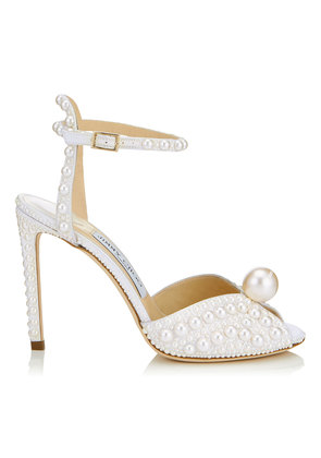 SACORA 100 White Satin Sandals with All Over Pearls
