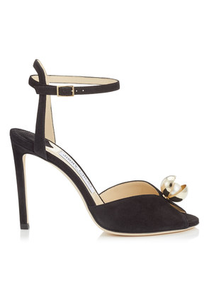 SACORA 100 Black Suede Sandals with Oyster Bead Pearl