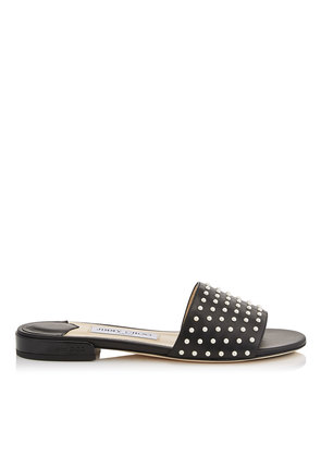 JONI FLAT Black Leather Slides with Pearl Detailing