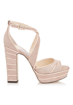 APRIL 120 Ballet Pink Suede Platform Sandals with Metallic Nappa Leather Piping