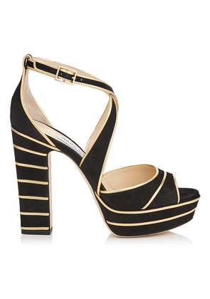 APRIL 120 Black Suede Platform Sandals with Gold Metallic Nappa Leather Piping