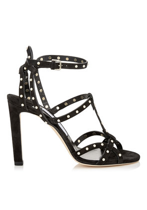 BEVERLY 100 Black Suede Sandals with Pearl Detailing