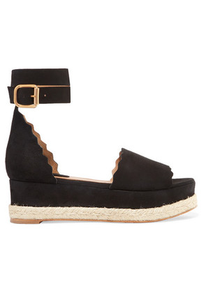 Chloé - Lauren Scalloped Suede Espadrille Platform Sandals - Black
