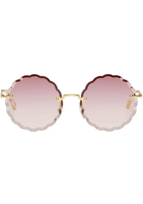 Chloé Gold Scalloped Edge Rimless Sunglasses