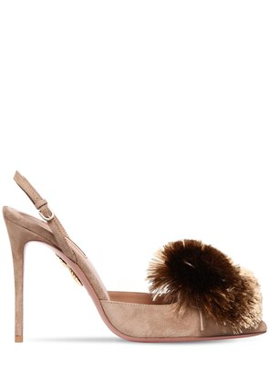 105MM POWDER PUFF SUEDE SLINGBACK PUMPS