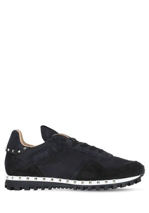 STUDDED SUEDE & NYLON SNEAKERS