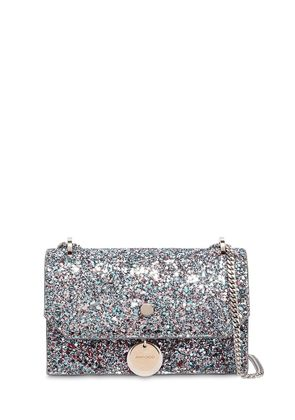 FINLEY GLITTERED LEATHER SHOULDER BAG